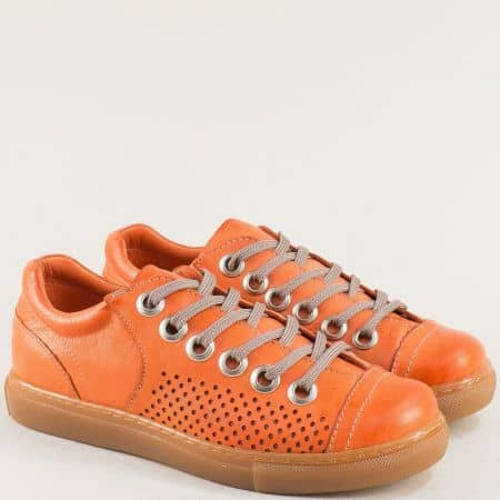 Оранжеви дамски кецове от естествена кожа с перфорация s72o