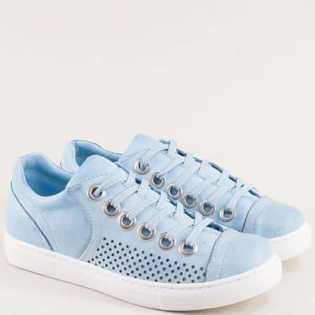 Спортни дамски обувки от естествена кожа в син цвят s72s