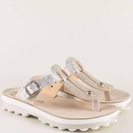 Сиви дамски чехли от естествена кожа на гръцки производител s9004sv