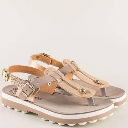Розови дамски сандали от естествена кожа между пръстите s9005rz