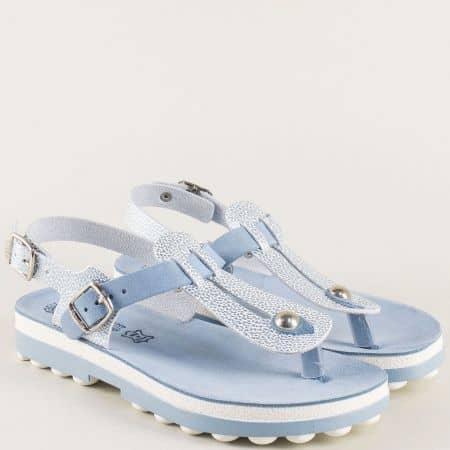 Дамски сини сандали от естествена кожа на анатомично ходило s9005s