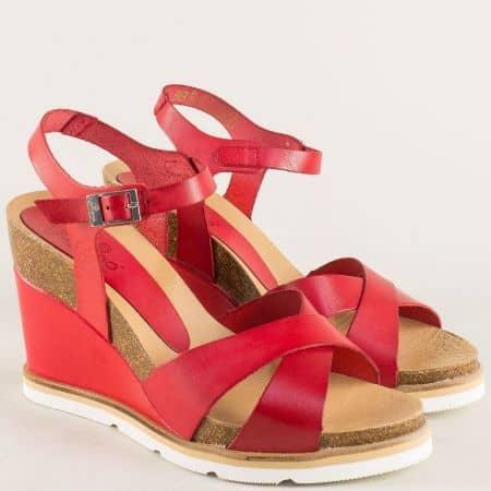 Червени дамски сандали на платформа от естествена кожа simi001chv