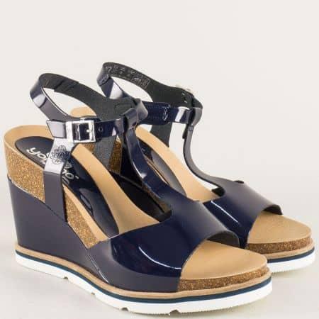 Анатомични дамски сандали с кожена стелка в син цвят simi003s