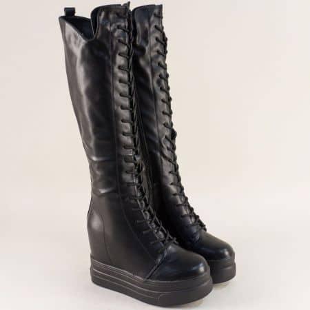 Черни дамски ботуши на висока платформа sjn100ch