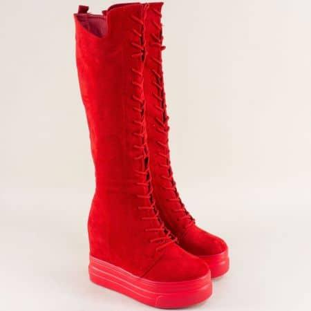 Червени дамски ботуши с връзки и цип на платформа sjn100vchv