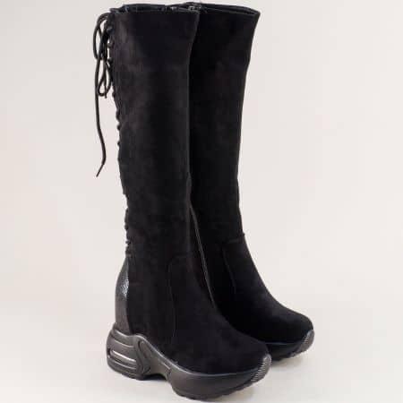 Черни дамски ботуши над коляното на скрита платформа sjn210nch