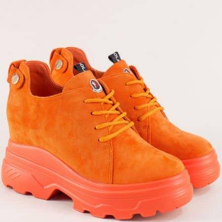 Дамски обувки в оранжев цвят на платформа sjn232vo