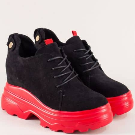 Черни дамски обувки на червена платформа  sjn232vchchv