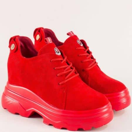 Дамски обувки с връзки на платформа в червен цвят sjn232vchv
