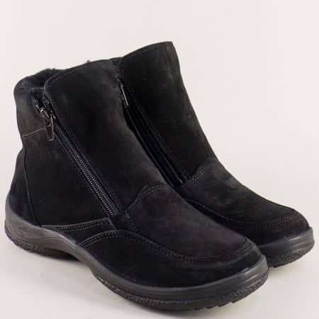 Велурени дамски боти в черен цвят на равно ходило с цип sky02vch