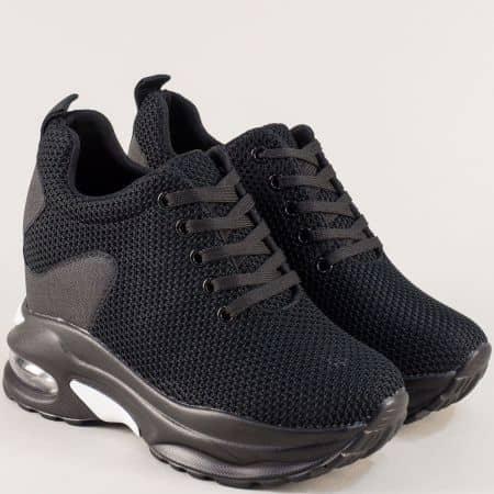 Черни спортни дамски обувки на платформа sz171ch