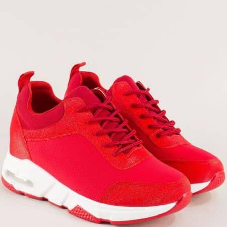 Червени дамски маратонки на скрита платформа sz196chv