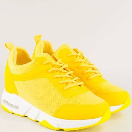 Жълти дамски маратонки с връзки на скрита платформа  sz196j
