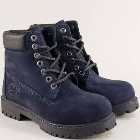 Тъмно сини дамски боти с грайфер от естествен набук t02ns