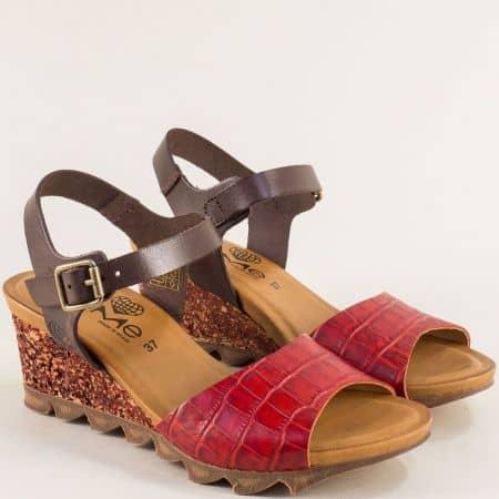 Дамски сандали в кафяво и червено с кроко принт- TAKEME t206kchv