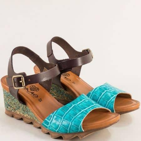 Дамски сандали в кафяво и тюркоазено синьо с кроко принт- TAKEME t206ks
