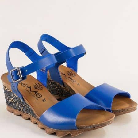Сини дамски сандали от естествена кожа на клин ходило- TAKEME t206s