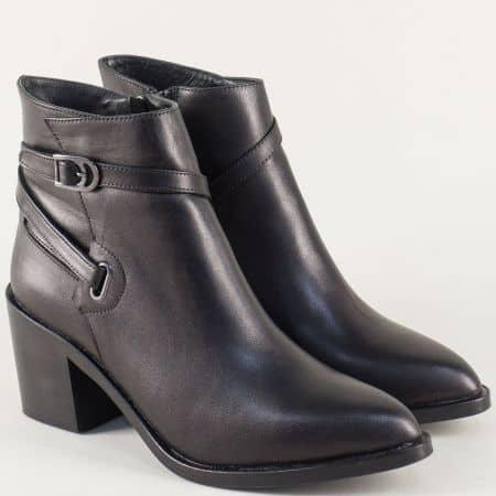 Черни дамски боти от естествена кожа на среден ток t701ch