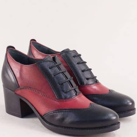 Кожени дамски обувки на среден ток в червено и черно texy91chchv