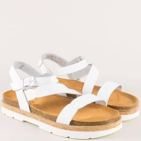 Бели дамски сандали с кожена анатомична стелка tupai002b
