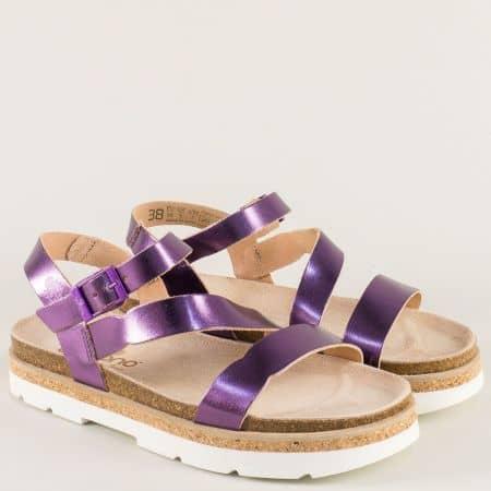 Кожени дамски сандали на платформа в лилаво tupai002l