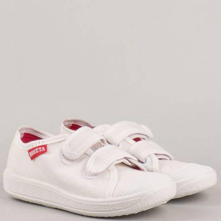 Пролетно летни детски обувки с две велкро лепенки на водещ български производител в бяло u062b