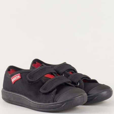 Детски спортни обувки в черен цвят с две лепки и кожена ортопедична стелка- български производител u063ch