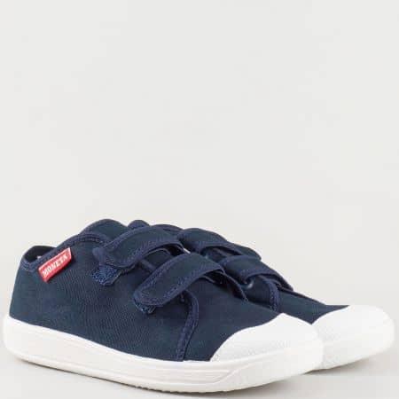 Текстилни детски обувки в син цвят с две лепки и кожена ортопедична стелка на български производител u063s