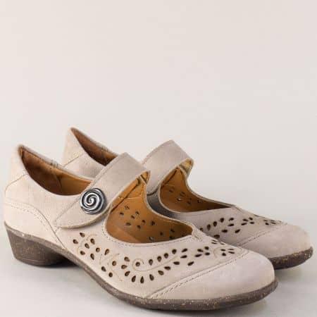 Сиви дамски обувки на нисък ток с перфорация и лепка ute47bj