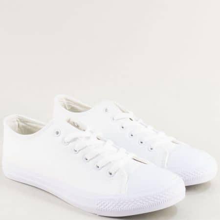 Бели мъжки кецове на равно ходило- BULLDOZER v0018-45b