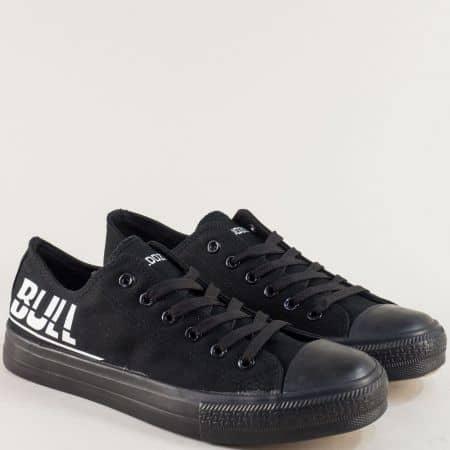 Мъжки кецове- BULLDOZER в черен цвят на равно ходило v018-45ch