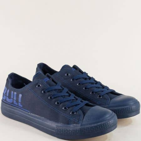 Тъмно сини мъжки кецове- BULLDOZER на равно ходило v018-45s
