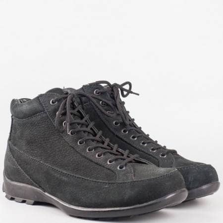 Мъжки ежедневни боти от висококачествен естествен велур в черен цвят v11737-45ch