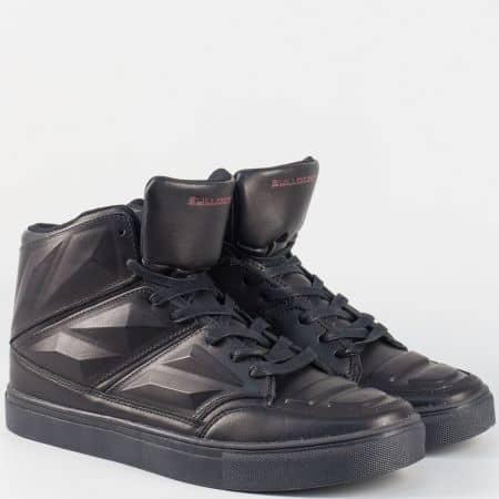 Черни юношески кецове с връзки v151112-40ch