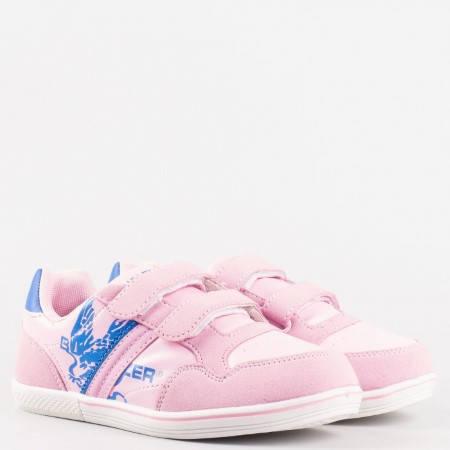 Удобни детски маратонки с две лепенки в розов цвят, произведени за марката Bulldozer v5180-35rz
