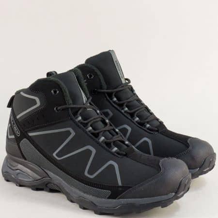 Мъжки спортни обувки в сиво и черно- BULLDOZER v52059-45ch