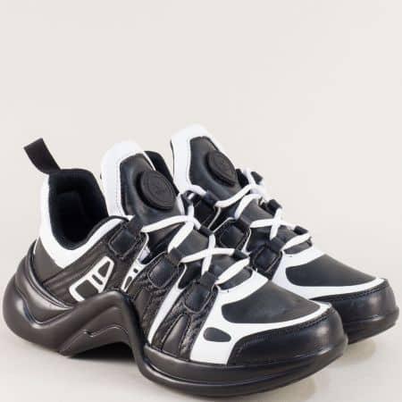 Дамски спортни обувки с връзки в черен цвят  v521ch