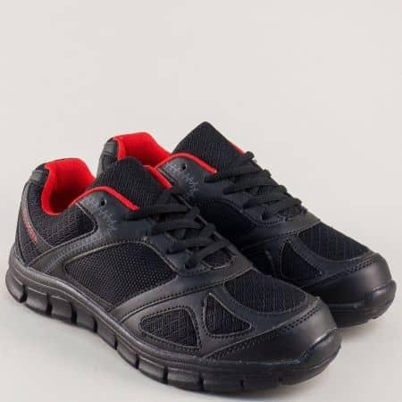 Черни дамски обувки- спортни с връзки- Bulldozer v61234-40ch