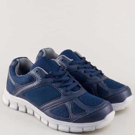 Сини дамски маратонки на равно ходило и връзки- Bulldozer v61234-40s