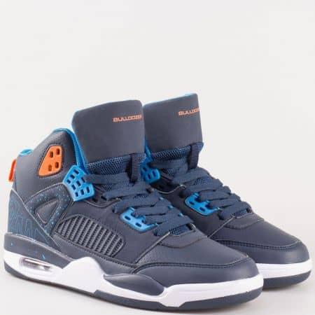 Сини юношески спортни обувки с връзки и въздушна камера- Bulldozer  v62300-40s