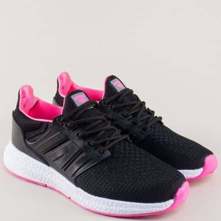 Черни дамски маратонки с връзки- Bulldozer v71056-40ch