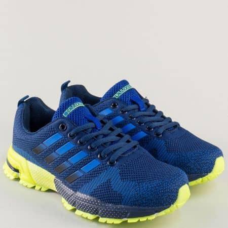 Дамски маратонки в синьо на равно ходило с връзки v71194-40s