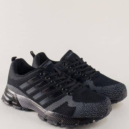 Спортни мъжки обувки с връзки в черен цвят- Bulldozer v71194-45ch