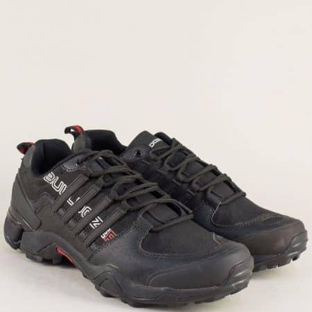 Черни мъжки маратонки на равно ходило с връзки v722050-45ch