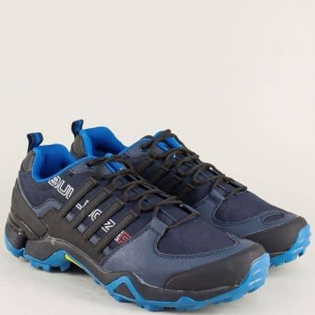 Мъжки маратонки в син цвят на равно ходило v722050-45s