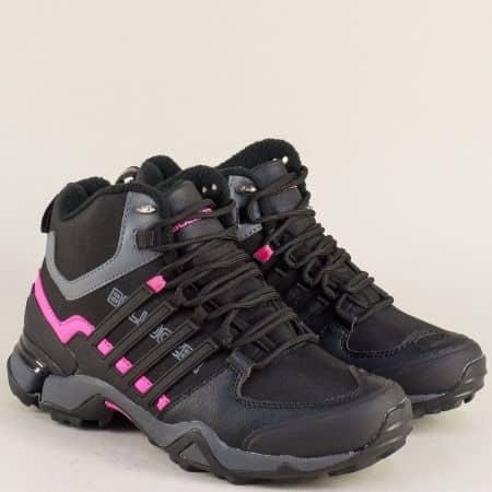Спортни юношески обувки с връзки в циклама и черно v72205-40chck