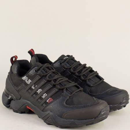 Юношески маратонки с връзки в черен цвят- Bulldozer v722050-40ch