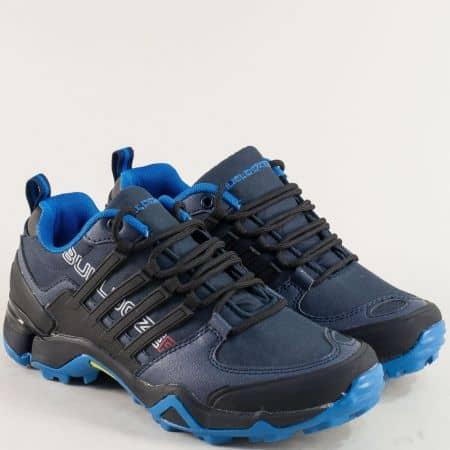 Сини дамски маратонки от еко кожа и тексил v722050-40s