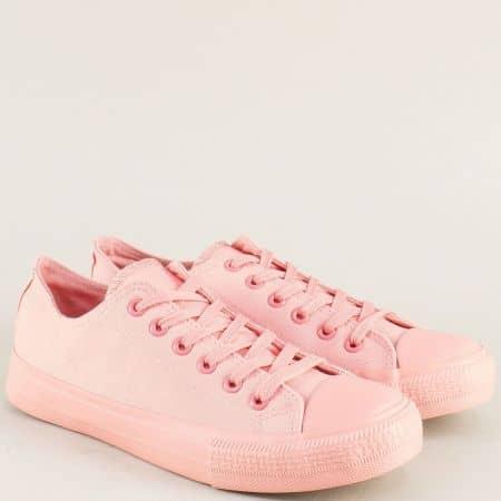 Розови дамски кецове на равно ходило с връзки v72301-40rz