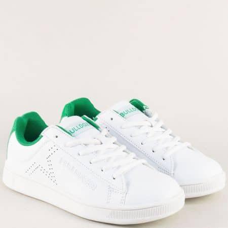 Равни дамски кецове в зелено и бяло- BULLDOZER v81034-40bz